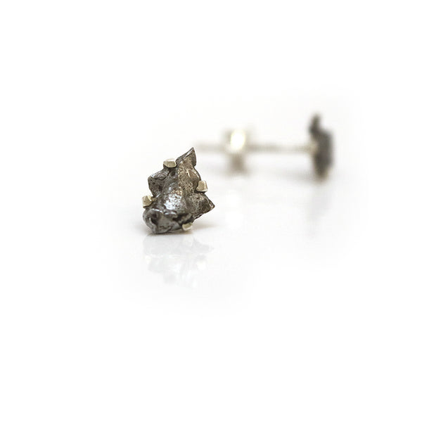 Silver and Meteorite Earring Studs