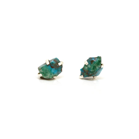 Raw Emerald Birthstone Studs