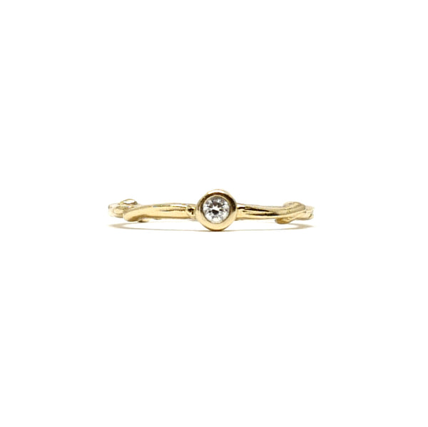 Single Stone Family Tree Twig Ring