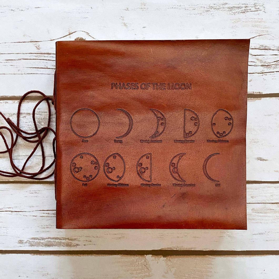 Moon Phases Leather Journal - 7x7 - Brown