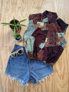 Upcycled Sleeveless Blouse (Cinch Waist)