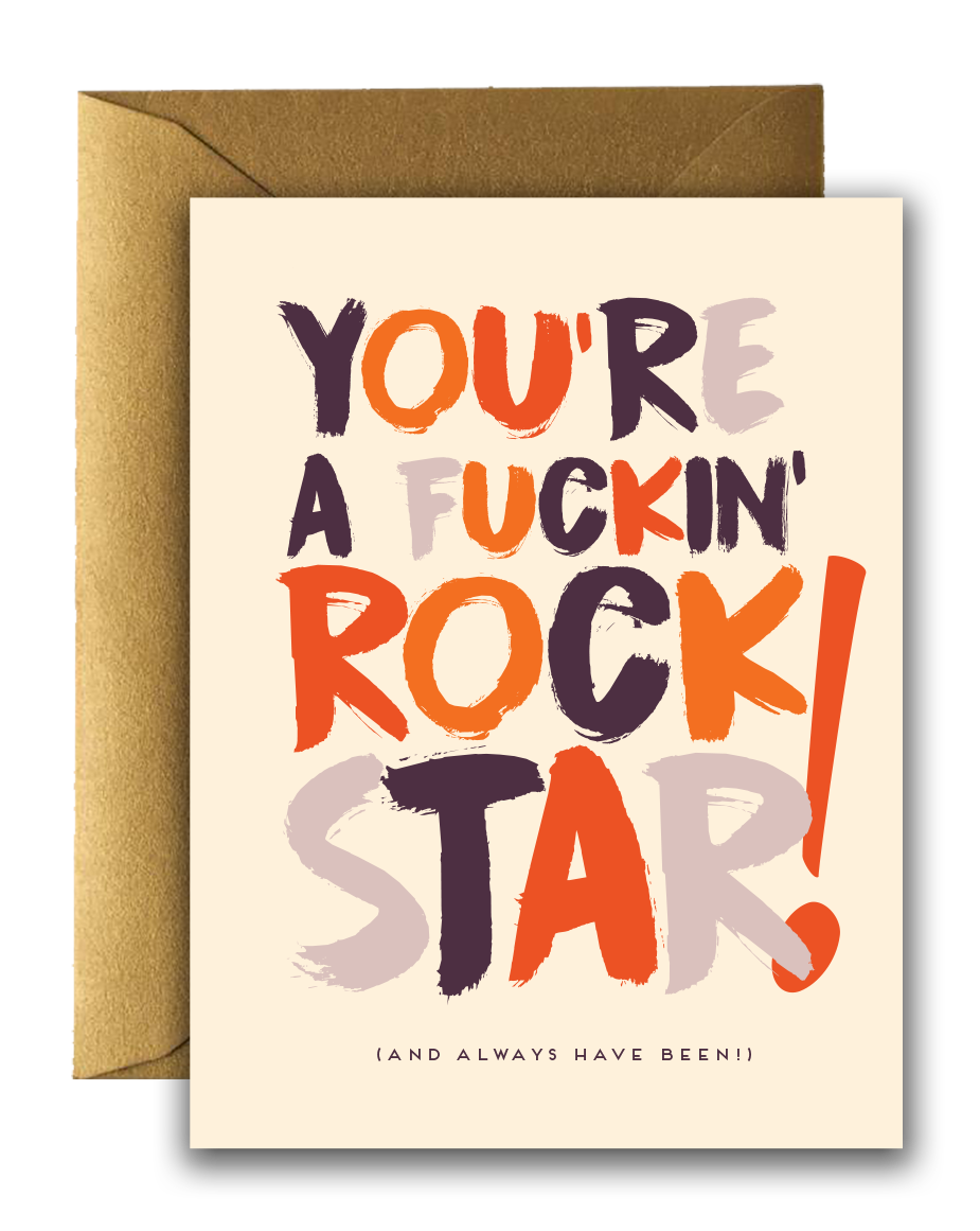 Offensive + Delightful - CONGRATS F*ING! Rock Star Card