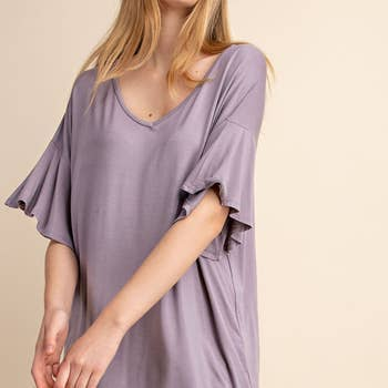 Lorrie Bamboo V Neck Ruffled Sleeves Top