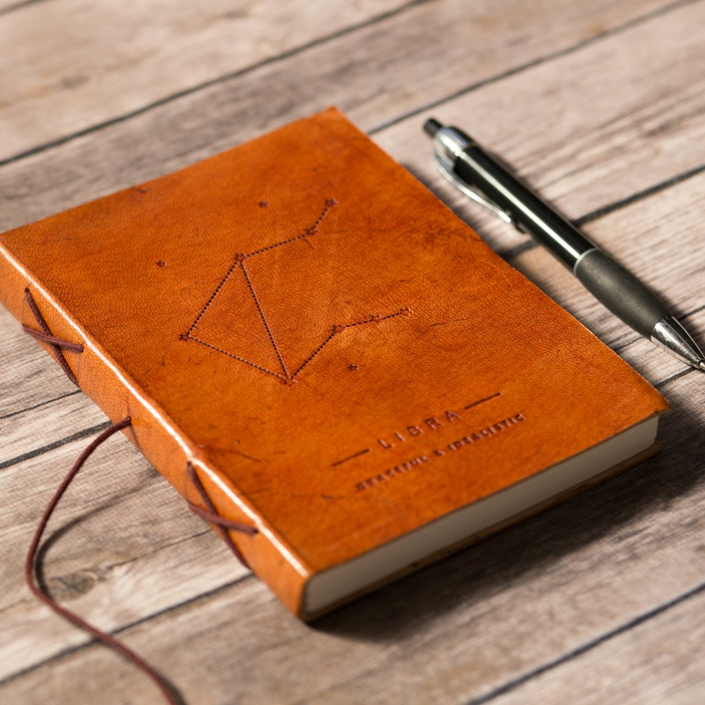 Soothi | Containers Of Creativity - Libra Zodiac Handmade Leather Journal