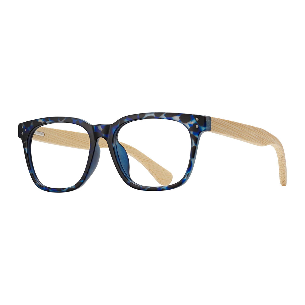 Blue Planet Eco-Eyewear - Matson - Matte Blue Tortoise / Natural Bamboo - Blue Light