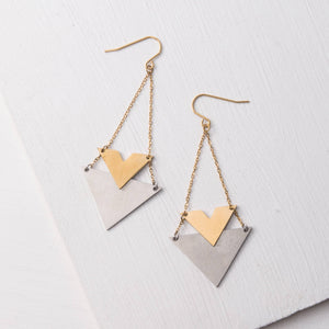 Wynne Gold & Steel Pendant Earrings