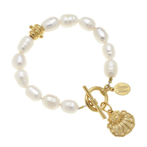 Gold Scallop Shell on Genuine Freshwater Pearl Bracelet