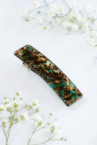 Thick Rectangle Double Snap Barrette - spruce