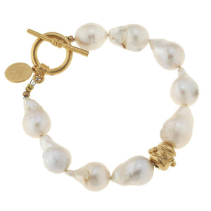 Large Baroque Genuine Freshwater Pearl Toggle Bracelet