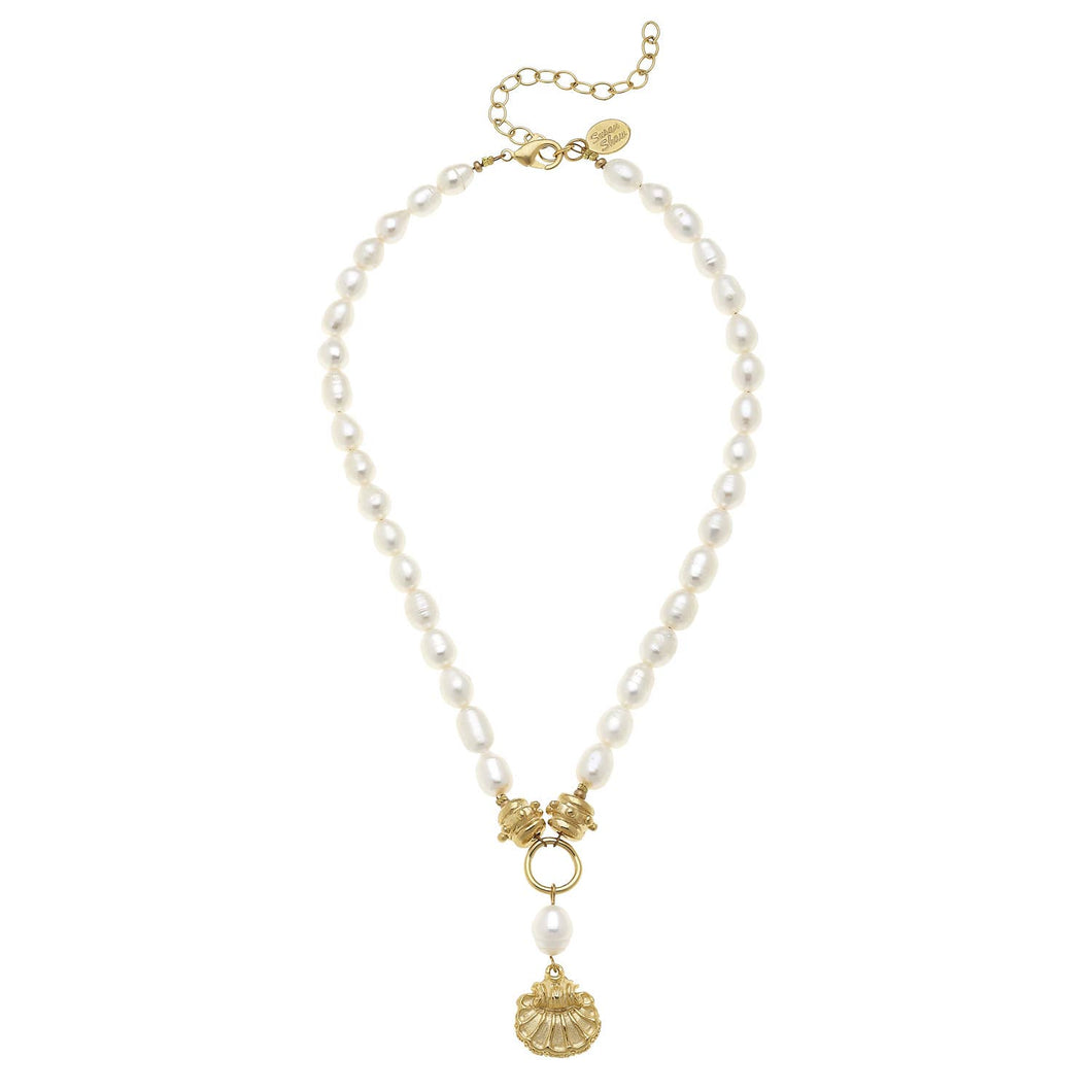 Handcast Gold Scallop Shell on Genuine Freshwater Pearl Necklace