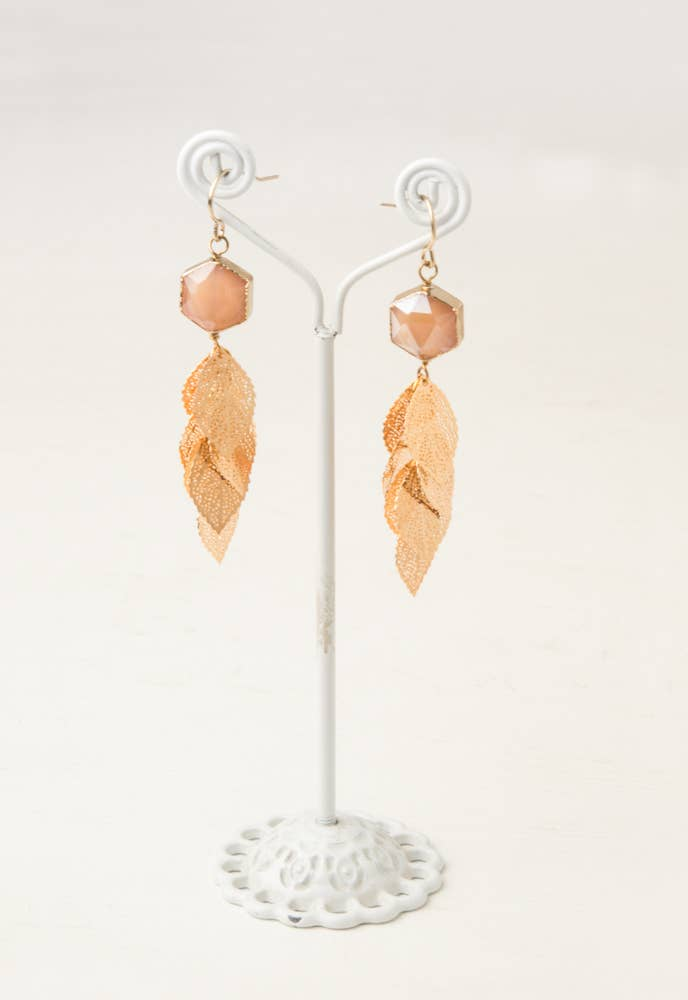 Ayla Pink Gold & Glass Pendant Earrings
