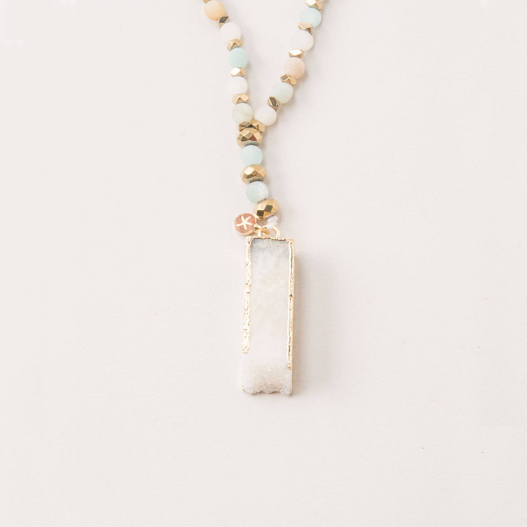 Laurel Amazonite and White Crystal Pendant Necklace