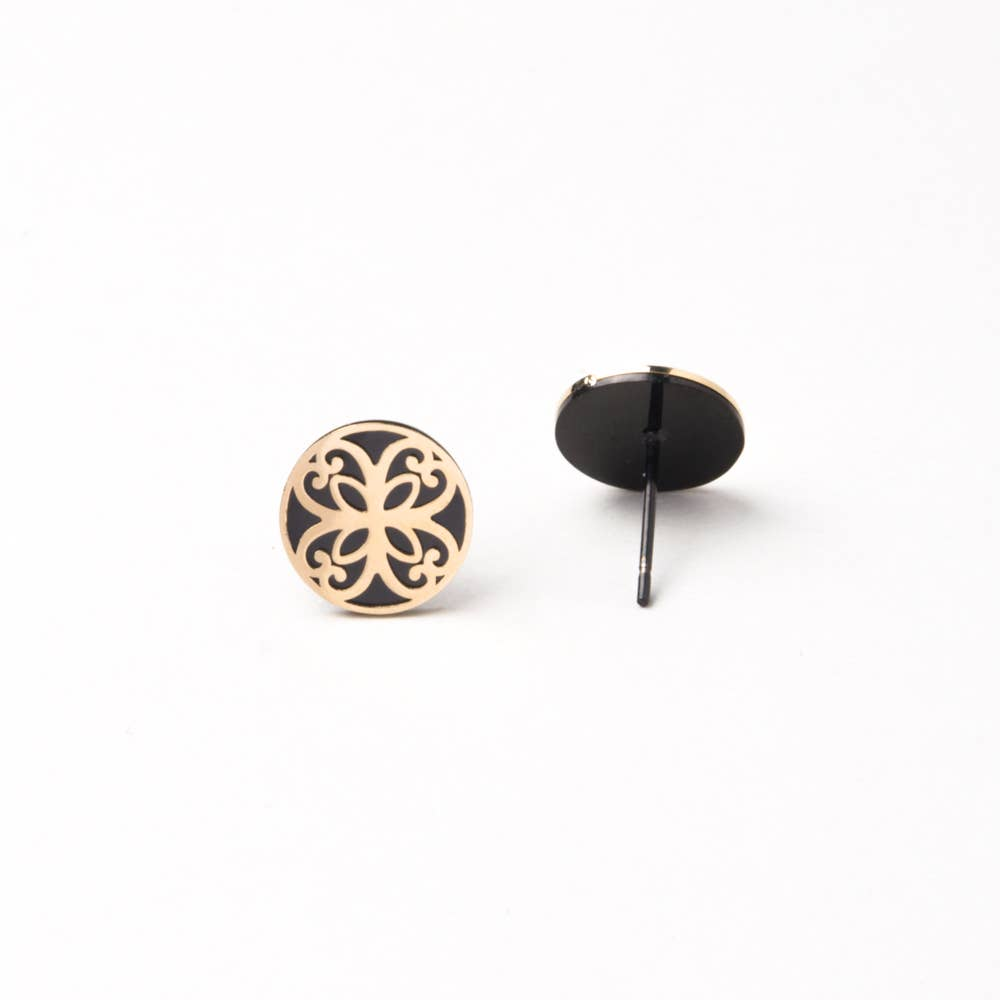 Maile Black Gold Stud Earrings