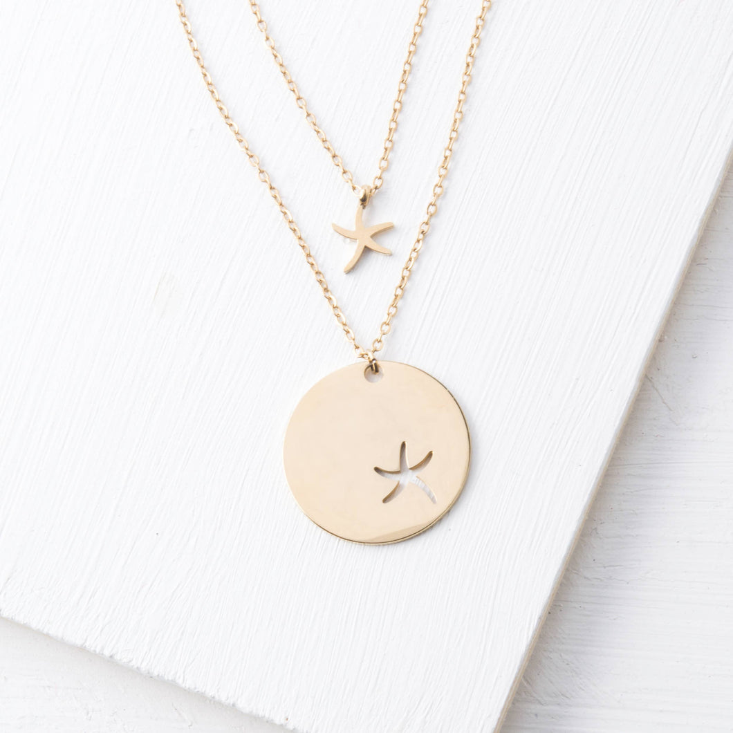 Community Gold Starfish Pendant Necklace Set