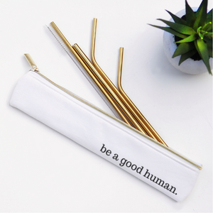 Good Human Straw Set Waterproof Lined Bag - 6 Pieces