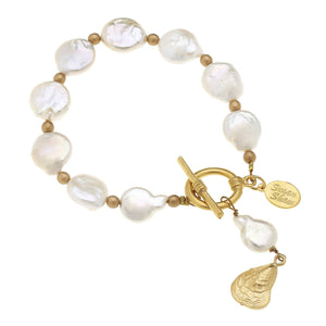 Gold Oyster Shell on Genuine Freshwater Pearl Bracelet