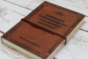 Lewis Carroll Quote Embossed Tan Leather Journal