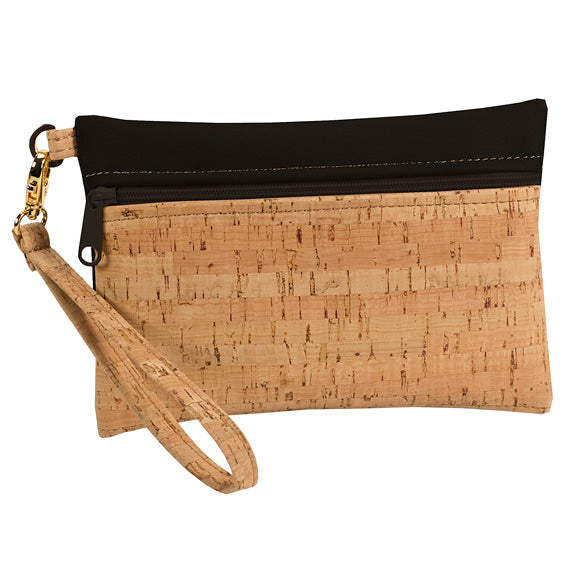 Be Ready Small Wristlet | Rustic Cork + Faux Leather