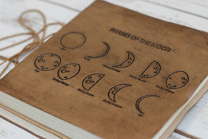 Square Size Moon Phases Embossed Leather Journal