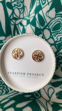 Maile White & Gold Stud Earrings