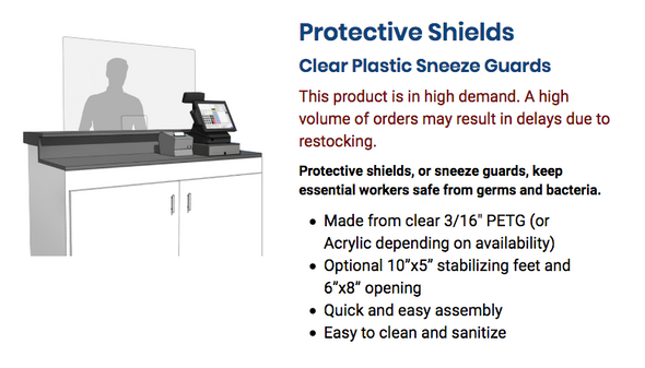 Protective Shields Clear Plastic Sneeze Guards