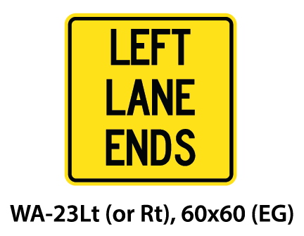 Warning Sign - WA-23Lt (or Rt)