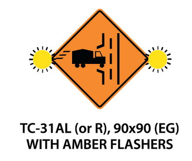 Temporary Conditions Sign - TC-31AL (or R) (with amber flashers)