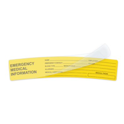 Emergency Medical Information Decal - for use in Hardhats, Motorcycle Helmets, Face Shields