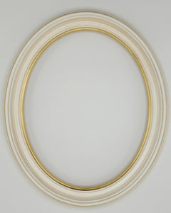 Presto #300 Ivory with Gold Lip Solid Wood Oval Frame