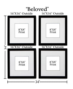 4 frame black and white collection for 8x8 prints with dimensions