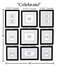 """Celebrate!"" 9-Frame Family Portrait Gallery with 3"" Designer Mat"