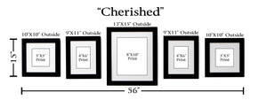 """Cherished"" 5-Frame Family Portrait Gallery with 1.5"" Designer Mat"