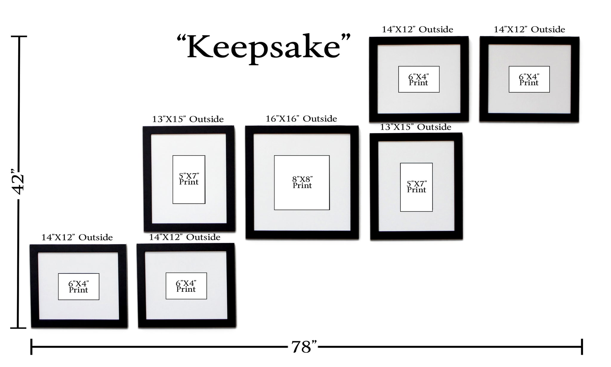 Keepsake 7 Frame Family Portrait Gallery With 3 Designer Mat
