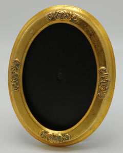 Ornate Gold Solid Wood Oval Frame with Medallions