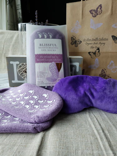 BLISSFUL Moisturizing Gel Spa Socks {Infused with Lavender Oil, Jojoba Oil, Olive Oil & Vitamin E} SPA Hydration At Home! For Less Than A Mani/Pedi!... & So Shea Soufflé Collection ~ Lavender Lush Eye Pillow {Lush Outer Pillow... Filled with Lavender, Rice & Linseed}