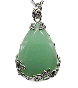 "Green Aventurine Natural Stone Pendant Necklace... Green Aventurine is known as the ""Stone of Opportunity"". Thought to be the luckiest of all crystals, especially in manifesting prosperity and wealth or for increasing favor in competitions or games of chance."