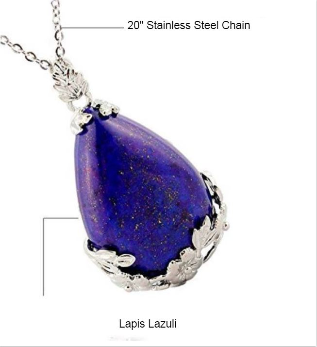 Lapis Lazuli Natural Stone Pendant Necklace...  Lapis Lazuli is known as a