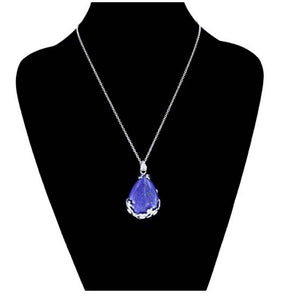 "Lapis Lazuli Natural Stone Pendant Necklace...  Lapis Lazuli is known as a ""stone of protection"" that may be worn to guard against psychic attacks, quickly relieving stress and bringing deep peace. This beautiful blue stone brings harmony and deep inner self-knowledge."