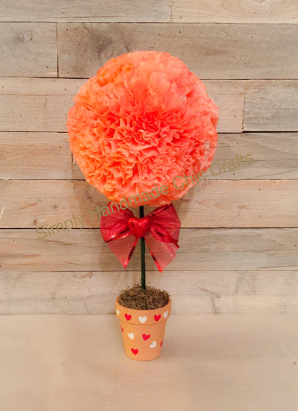 Valentine's day paper flower topiary