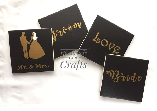 Mr. & Mrs. wedding ceramic coasters