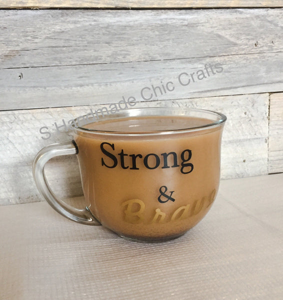 Personalized clear glass coffee or tea mug