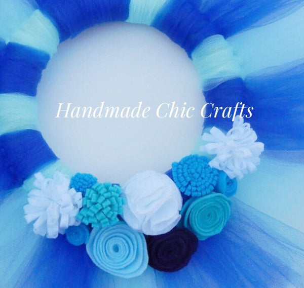 Tulle white and blue nursery wreath