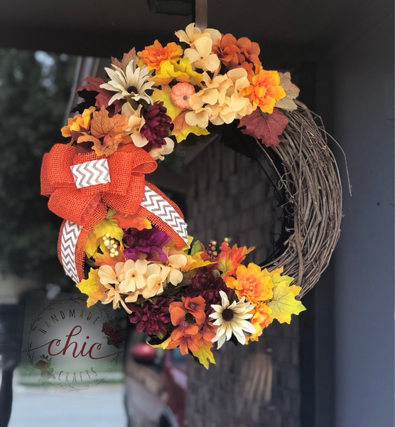 Natural Grapevine Fall Wreath