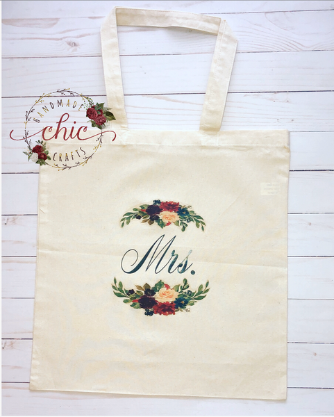 "Canvas Tote Bag ""Mrs."""