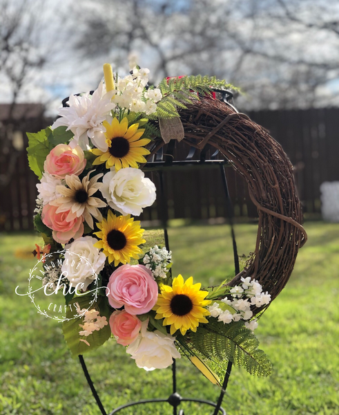 Rustic spring grapevine wreath