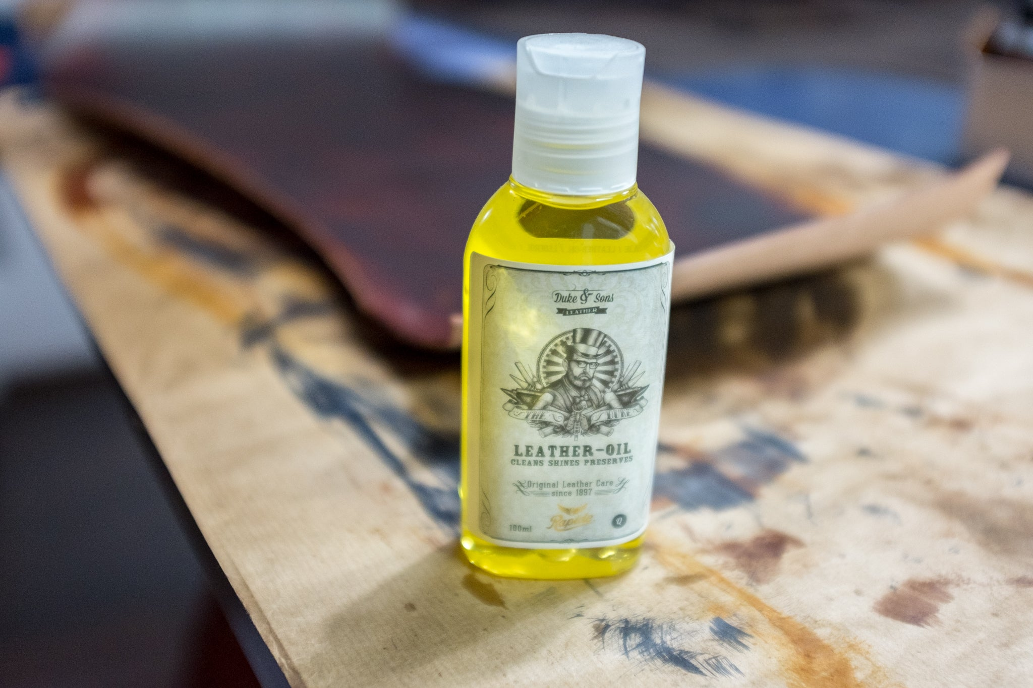 Soaking in Duke & Sons Leather Oil.