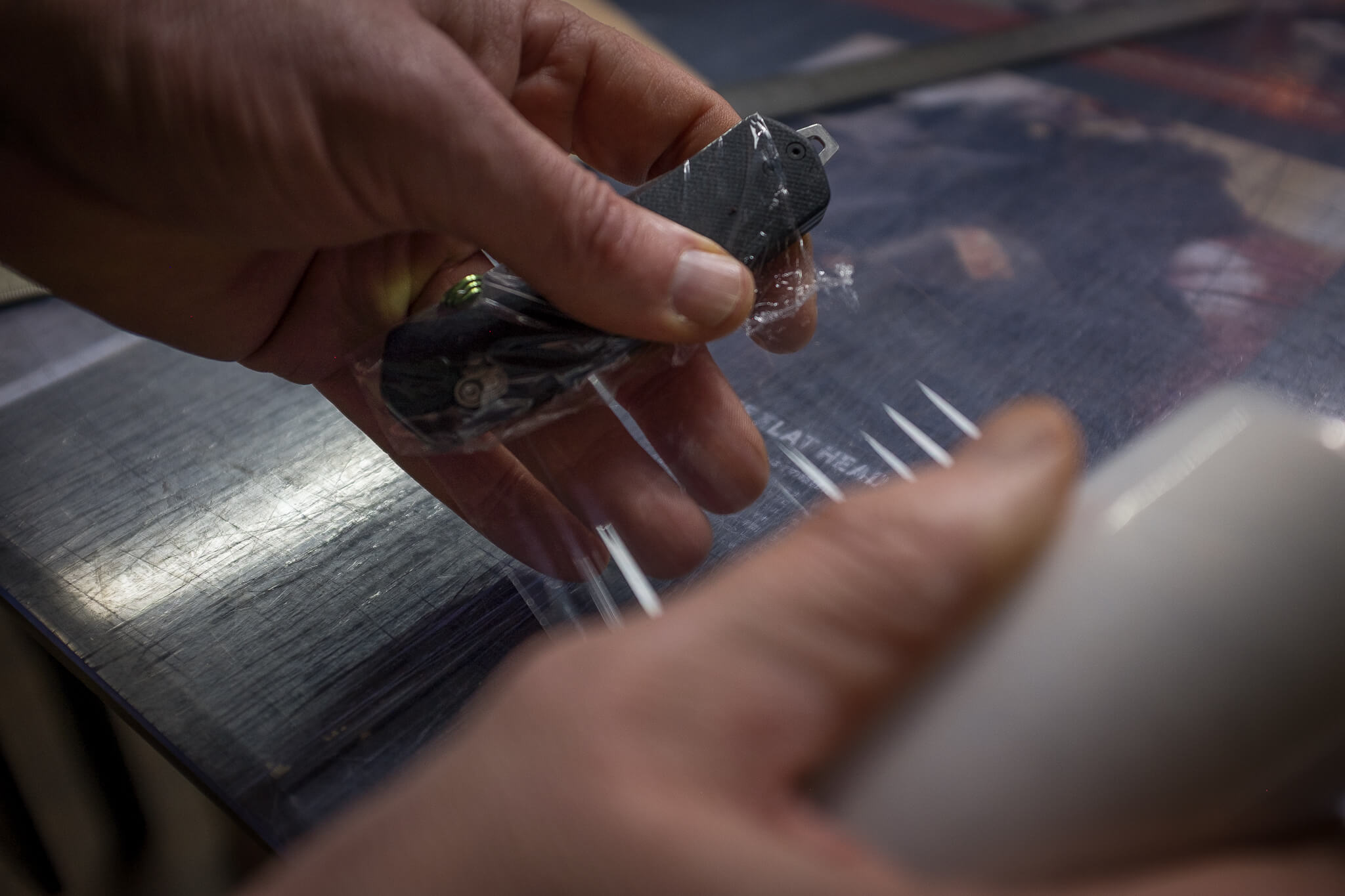 wrapping the James Knife in foil | Duke & Sons Leather