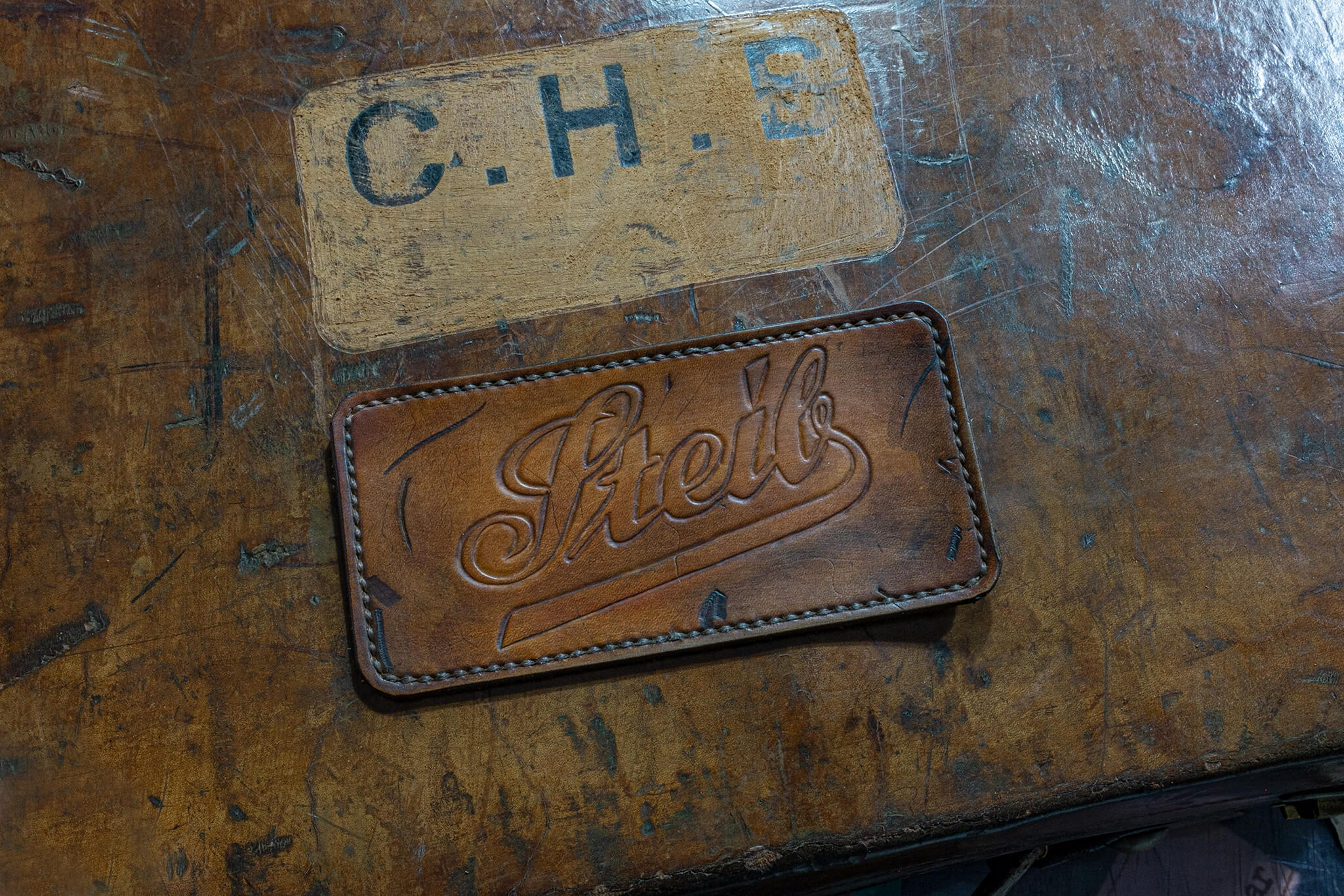 The finished STeib logo patch | Duke & Sons Leather