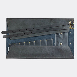 Tool Roll, black leather, with pocket and 2 leather straps. - Duke & Sons Leather
