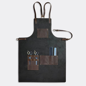 Barber apron, (black leather) for the professional barber and hairdresser - Duke & Sons Leather
